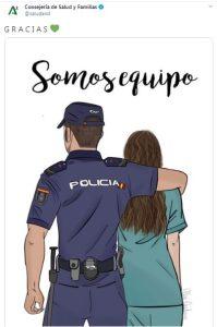 """La Consejería de Salud """"agradece"""" el trabajo del personal sanitario publicando un cartel de un policía – La otra Andalucía"""