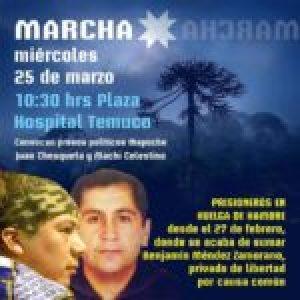Nación Mapuche. Se agrava salud de Juan Cheuqueta, prisionero político en huelga de hambre