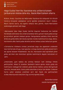OHARRA| Hego Euskal Herriko ikastetxe eta unibertsitateen jardueraren etetea dela