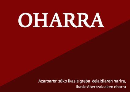 Azaroaren 28ko ikasle greba deialdiaren harira, Ikasle Abertzaleaken oharra :