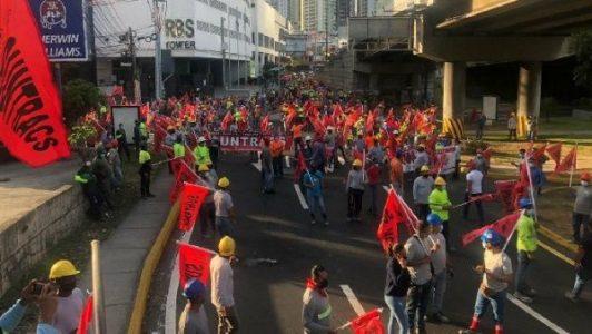 Panamá.Trabajadores y trabajadoras realizan protesta nacional